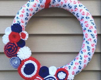 4th of July Wreath - Anchor Wreath - Independence Day Wreath - Patriotic Wreath - July 4th Wreath - Stars & Stripes -American Wreath -Anchor