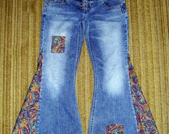 Jewel Paisley Hippie Bell Bottom Jeans OOAK Corduroy Retro Boho Patches Upcycled Flare Jean Unique Bell Bottoms Adult Jeans 30 Ready to Ship
