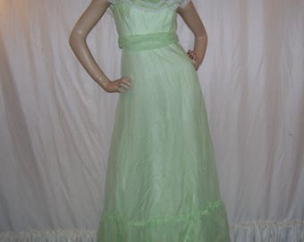 Retro Prom Maxi Dress Mint Green Sheer Dotted Swiss Dot Flutter Lace Sleeve Empire Dress Party Long Vintage Hippie Boho Gown 1970s S M Adult