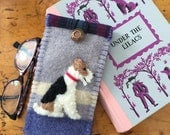 Wire Fox Terrier Dog Eyelgass / Sunglasses Case, Vintage Wool