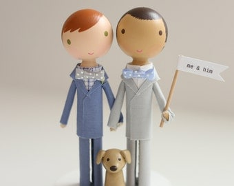 me & him custom wedding cake topper