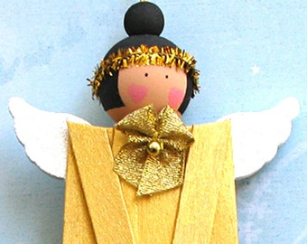 Gold Popsicle Stick Angel With Black Hair. Christmas Ornament. Xmas Tree Hanger Decoration. Painted Wood Angel. Handpainted Folk Art Ornie