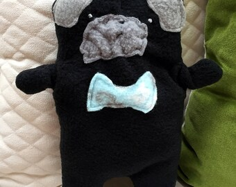 Oliver~ The Black Pug Bow Tie Bummlie ~ Stuffing Free Dog Toy ~ Ready To Ship Today - Light Blue & Gray Bow Tie