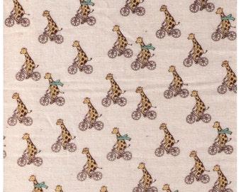 HALF YARD - Giraffes Riding Bicycles on Natural - Double Gauze - Bike, Race, Scarf, Animal - Japanese Import Fabric