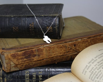 Tiny Tooth Hand Cut Sterling Silver Necklace