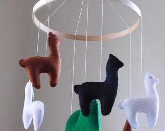 Handmade felt llama mobile - baby mobile