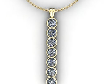 harlow pendant - 3.5 carat NEO moissanite bar necklace, gold bar necklace