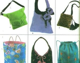 Simplicity 4778 PURSES TOTES BAGS in Fleece Hobo Backpack Tote Shoulder Hip Bag ©2004