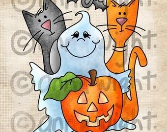 Halloween Gang / Digital Stamp Image / Instant Download