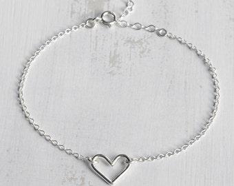 Sterling Silver Love Heart Bracelet - Heart Charm Bracelet - Dainty Heart Bracelet - Minimalist Heart Chain Bracelet - Valentine's