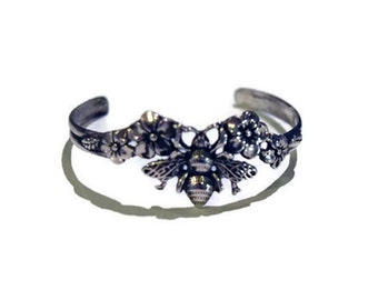 Bee and Blossoms Cuff Bracelet in Sterling Silver