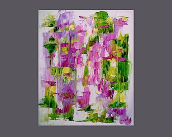 Print from abstract painting, fresh spring colours, pink, green, yellow, mauve, 'Bright Young Thing (II)' A6 to A3 size