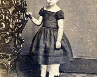vintage photo CDV Little Girl Carved Chair Checkerboard Floor TAx Stamp signed Philadelphia