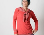 Coral red sweater, Womens sweater with sailor scarf, Womens clothing, Red and grey stripes womens sweatshirt, Womens sweaters, MALAM
