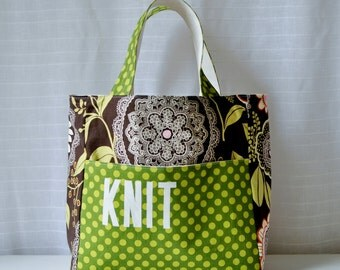 Stand Up Knitting Tote - Lacework in Olive