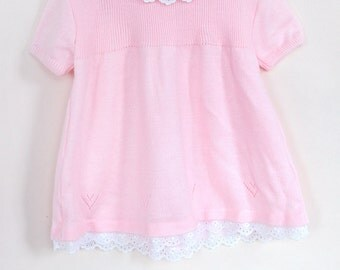 Vintage Baby Sweater Dress / Vintage Baby Pink Knit Dress / Pink Baby Dress / Size 9-12 Months