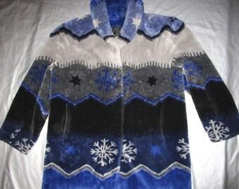 Faux Fur Coat by Artfur - Blue Gray Black Snowflake Print Design - Women's Size Large L - Vintage 1990s