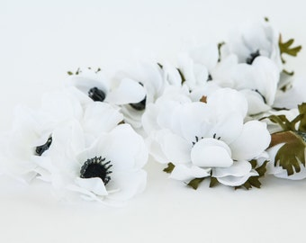 13 Anemones in White - Artificial Flowers - ITEM 0980