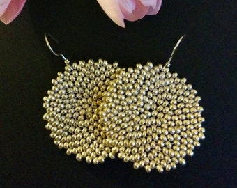 Round Silver Earrings, 4cm diameter - Aurora
