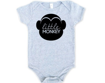 Little Monkey Cotton One Piece in Heather Grey with Black print - Baby Shower Gift, Adorable Newborn Tiny Human Present