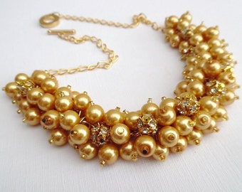 Set of 6 Gold Pearl and Rhinestone Beaded Necklaces, Wedding Sets, Cluster Necklace, Chunky Necklace, Bridesmaid Gift, Gold Pearl Necklace