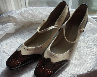Flapper style  shoes vintage brown white spectator pumps leather upper heels Gatsby Mary Jane  7  7.5  from vintage opulence on Etsy