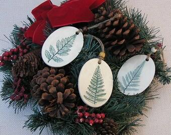 Handmade Pottery Botanical Ornaments . Fern Leaf . Ceramic Christmas Tree Ornaments
