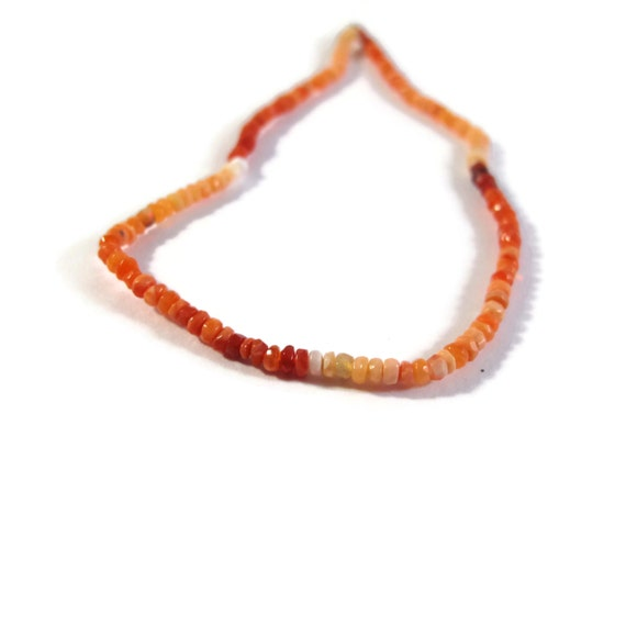 Fire Opal Beads, Natural Gemstones for Making Jewelry, Shaded Mexican Fire Opal Rondelles, 8 Inch Strand, 2.2-2.5mm (R-Fo2)