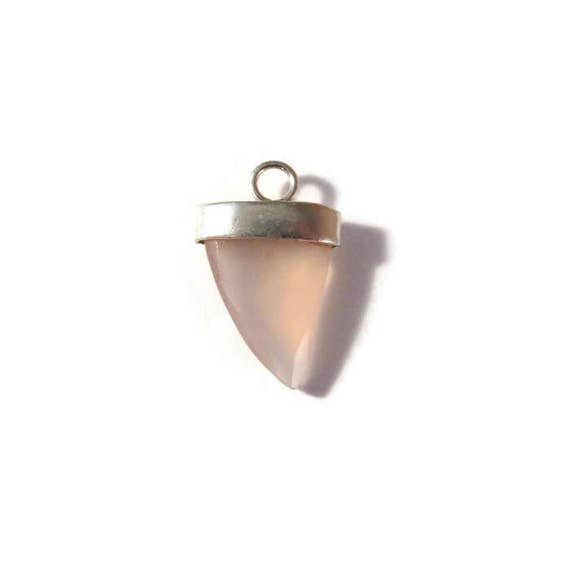 Rose Quartz Charm, Pink Gemstone Point with Silver Plated Bezel, Faceted Double Sided Pendant, Jewelry Supplies, 20mm x 13mm (C-Rq2a)