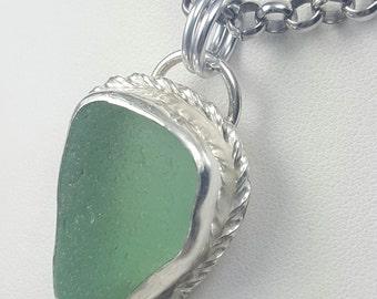 Sea Glass Necklace Sea Glass Jewelry Aqua Sea Glass Necklace Beach Glass Jewelry - N-472