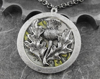 Scottish Thistle Tom o' Shanter Reversible Necklace - Sláinte, Robert Burns by COGnitive Creations