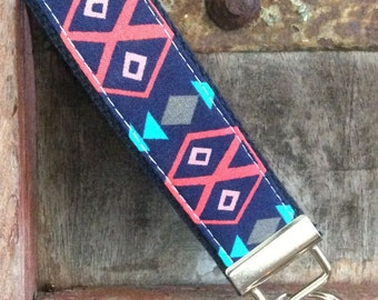 READY TO SHIP-Beautiful Key Fob/Keychain/Wristlet-Tribal On navy-2