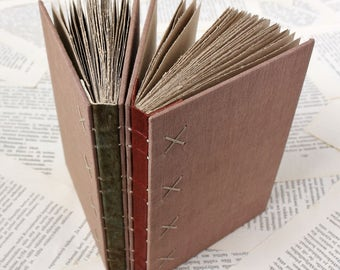 Small Hardcover Journal with Leather Spine, Dusty Blush Pink Linen Covers, and Recycled Brown Pages