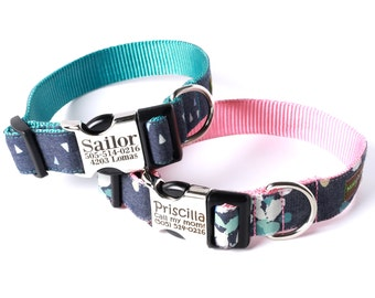 Denim Engraved Buckle Dog Collar - Personalized with 21 Webbing Colors to Choose From