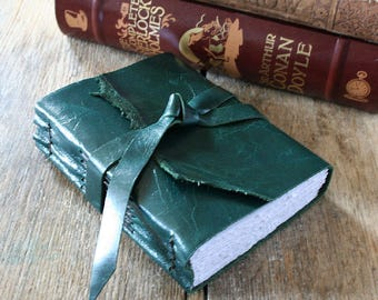 "Leather Journal . Anais Nin: ""We write to taste life twice, in the moment and in retrospect"" . dark teal . handmade handbound (320pgs)"