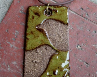 Two Birds on Speckled Olive Green Stoneware Pendant
