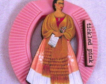 RESERVED Tickled Pink Vintage Celluloid Belt Buckle Frida Kahlo Art Brooch Pin Jewelry Lolita Sweet Indie Couture Altered Outsider Art