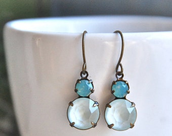 Opal and crystal drop earrings /simple dangle earrings /rhinestone earrings. Tiedupmemories