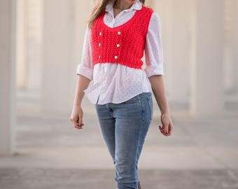 Vintage Bold Red Sweater Knit Double Breasted Cropped Vest (Size Small/Medium)