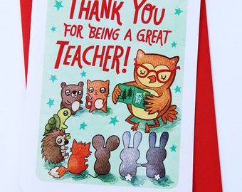 Thanks for Being a Great Teacher Card - Teacher thank you card Teacher Appreciation Preschool thank you card end of school year card thanks