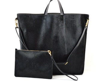 Nicole - Handmade Ribbed Black Hair On Hide Leather Tote Bag With Detachable Clutch SS17