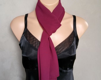 Burgundy Chiffon Scarf - Perfect Summer Skinny Scarf - 56 inches long by 12 inches wide