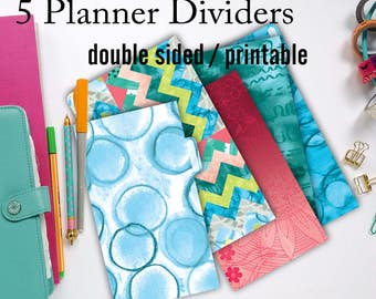 Personal Planner Dividers, Printable Planner Dividers Chevron - Red Blue Green Hand Painted for personal size planners by LIZPLUMMER
