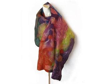 Felt Scarf, Felted Scarf, Felted Shawl, Felted Wrap, Wool Shawl Scarf, Blue Green Pink Purple Shawl, Wool Silk Scarf, Floral Scarf, gift for