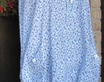 Sassy Rags Blue and White Floral Cotton Cap Sleeve Sassy Sundress-SALE