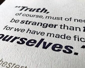 G.K. Chesterton Letterpress Quotation Poster