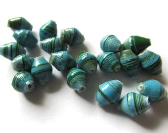 10 or 20 10mm Blue and Green Striped Beads Ugandan Paper Beads Fair Trade Beads African Paper Beads Small Paper Bead Upcycled Bead Smileyboy