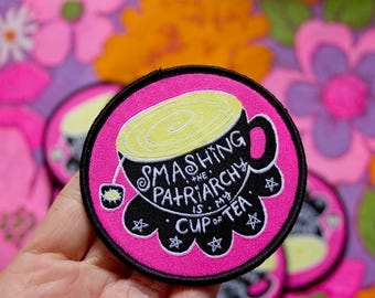Cup of Tea Iron-on Woven Patch