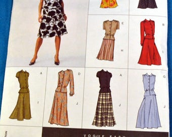 Vogue Easy Options 2654 Sewing Pattern  Misses' Tops and Skirt Uncut Complete Bust 36-40 inches