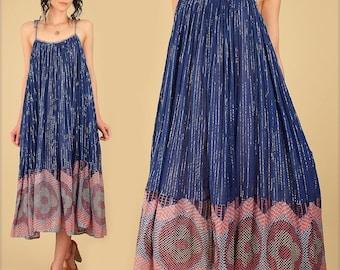 ViNtAgE 70's Indian Cotton Dress Sheer Gauze India // Rare Bohemian Babydoll HiPPiE BoHo Festival Tent Sun Sundress Indigo Free Size Floral